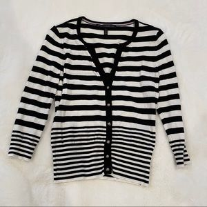 White House black market 3/4 sleeve stripe sweater